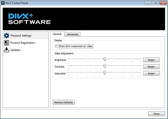 DivX Plus Software Control Panel