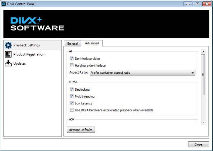 DivX Plus Software videó beállítások