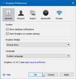 Dropbox beállítások
