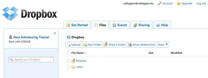 Dropbox webes felület