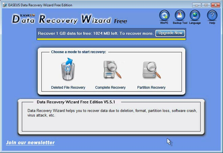 EaseUS Data Recovery Wizard kezdő oldal