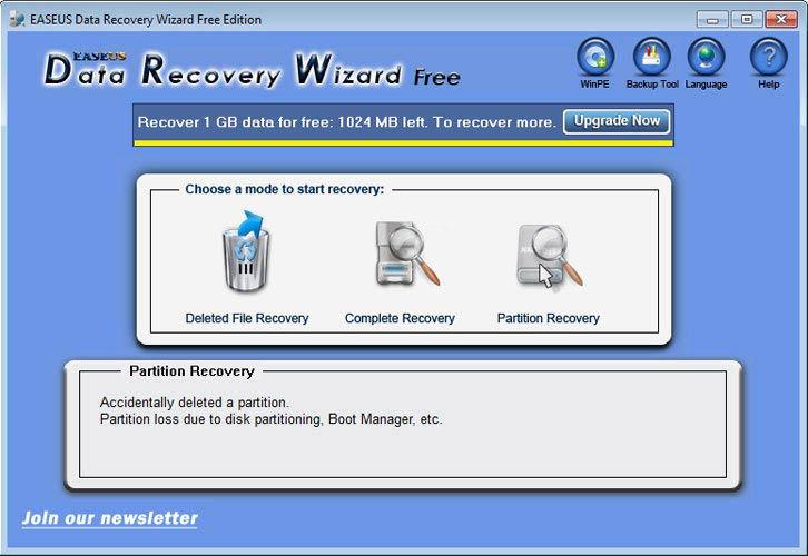 EaseUS Data Recovery Wizard törölt partíció