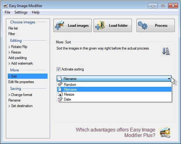 Easy Image Modifier - rendezés