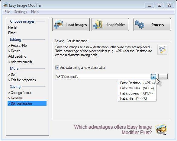 Easy Image Modifier - útvonal