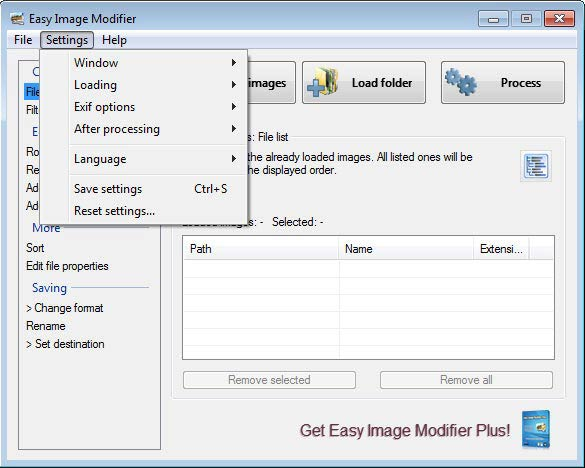 Easy Image Modifier - beállítások