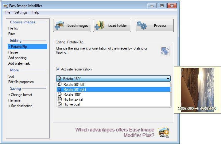 Easy Image Modifier - forgatás, tükrözés
