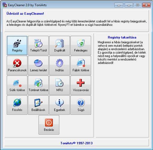 EasyCleaner felület