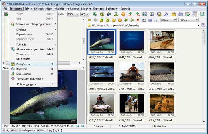 FastStone Image Viewer szerkesztő eszközök