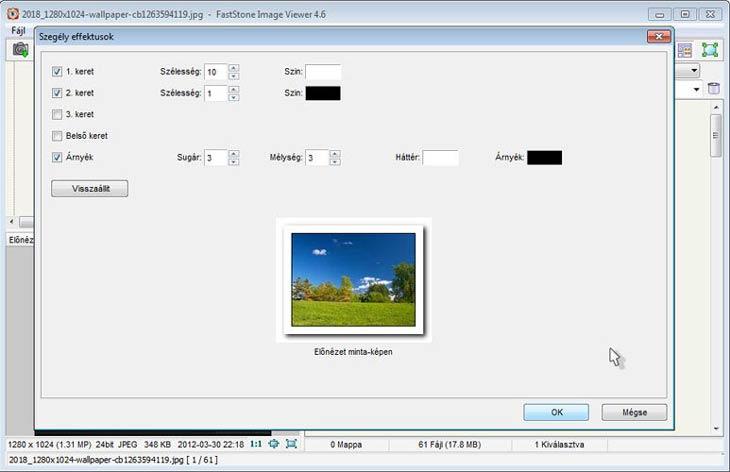 FastStone Image Viewer szegély effektek