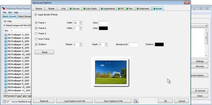 FastStone Photo Resizer - keret