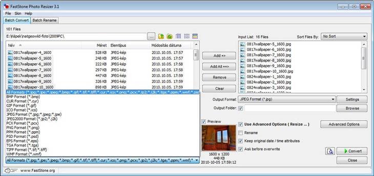 FastStone Photo Resizer - fájlformátumok