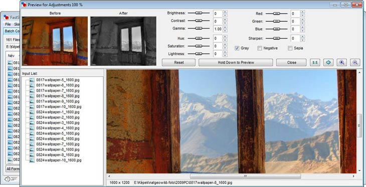 FastStone Photo Resizer - finombeállítások