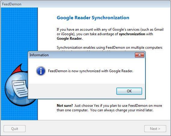 FeedDemon Google Reader szinkronizálás