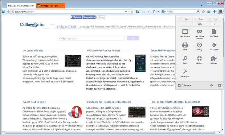 Firefox beállítások