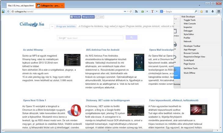 Firefox fejlesztő eszközök