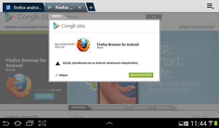 Firefox for Android bejelentkezés