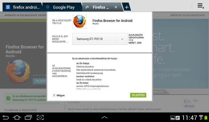 Firefox for Android hozzáférés