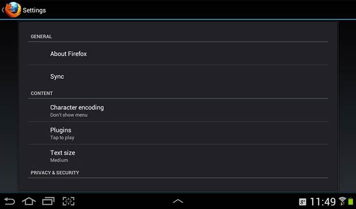 Firefox for Android beállítások