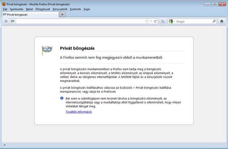 Firefox privát böngészés