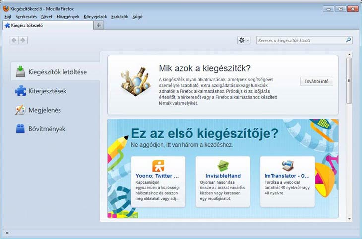 Firefox kiegészítők