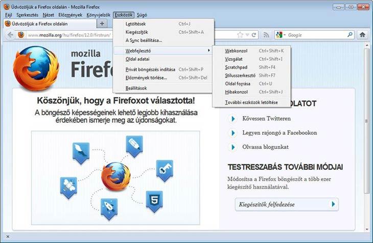 Firefox eszközök