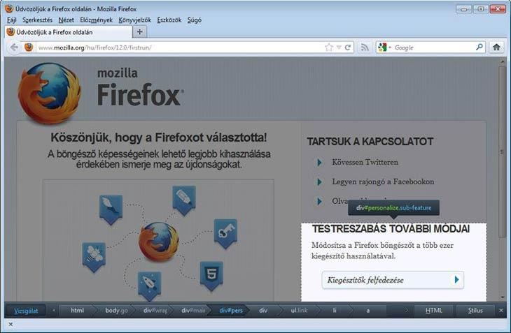 Firefox webfejlesztő eszköz