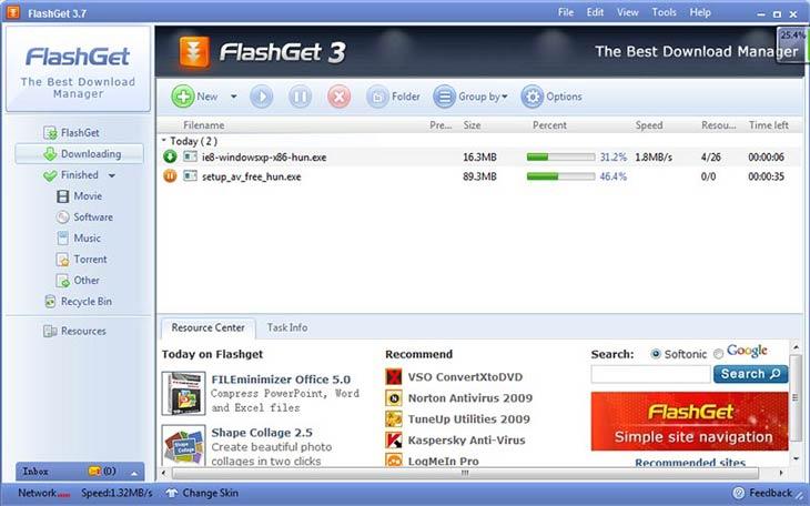 FlashGet szünet