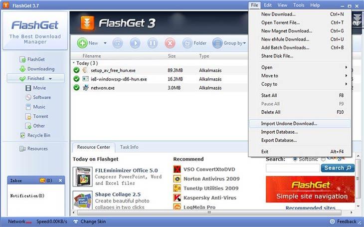 FlashGet kész letöltések