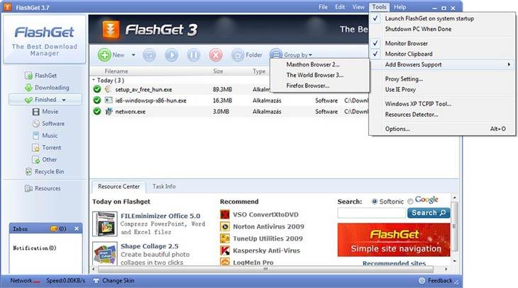 FlashGet eszközök