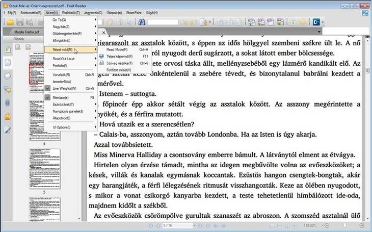 Foxit Reader hagyományos felület