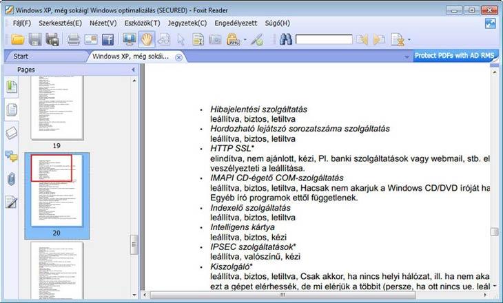 Foxit Reader hordozható, magyar nyelvű