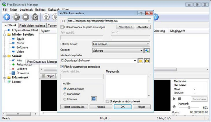 Free Download Manager letöltés hozzáadása