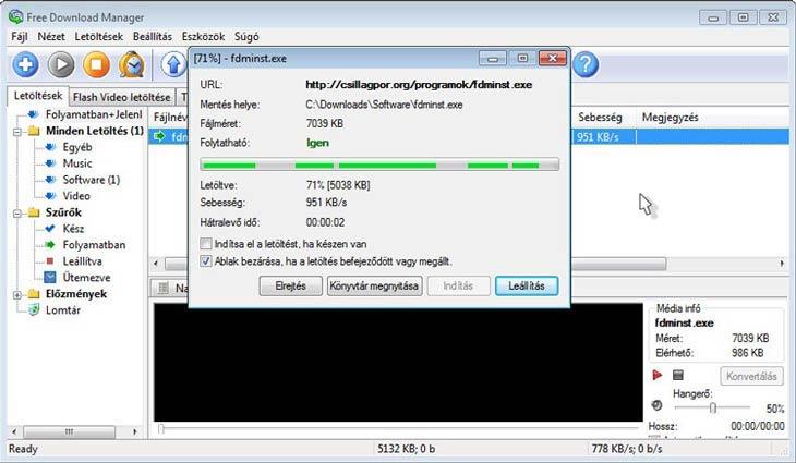 Free Download Manager letöltés több szálon