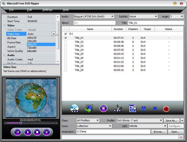 iMacsoft Free DVD Ripper paraméterek