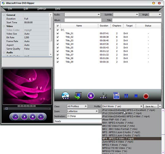 iMacsoft Free DVD Ripper profil