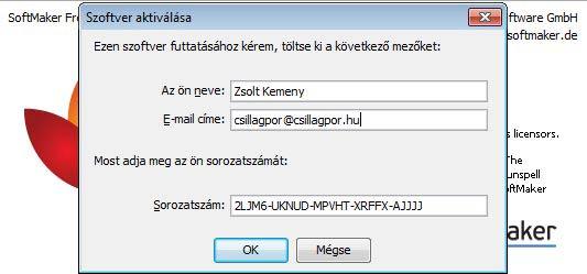 FreeOffice aktiválás