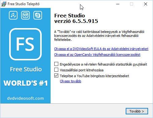 Free Studio telepítés