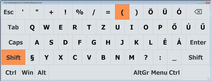 Free Virtual Keyboard jobb egérgomb