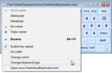 Free Virtual Keyboard típus