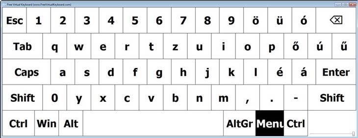 Free Virtual Keyboard fekete-fehér