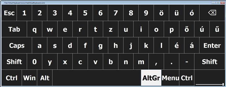 Free Virtual Keyboard fehér-fekete