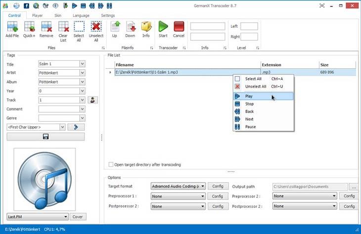 GermaniX Transcoder lejátszás