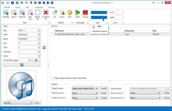 GermaniX Transcoder átkódolás kész
