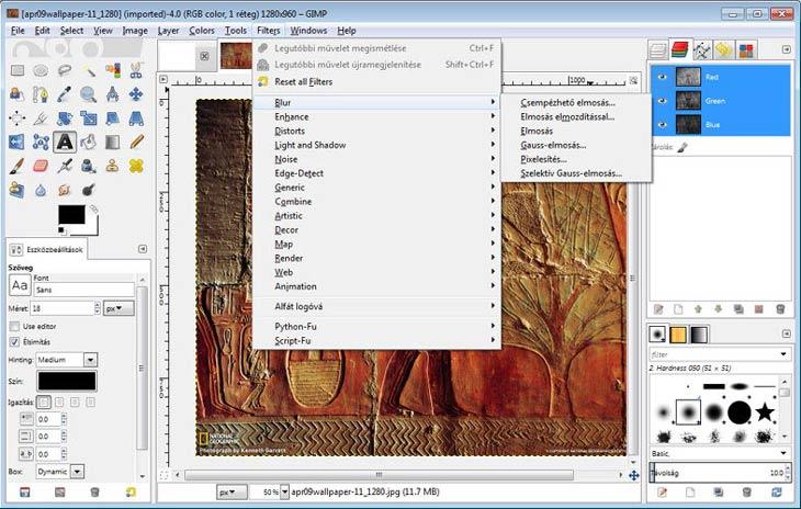 GIMP szűrők