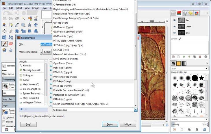 GIMP exportálás, képformátumok