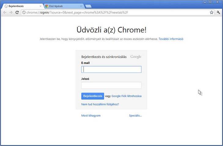 Google Chrome böngésző