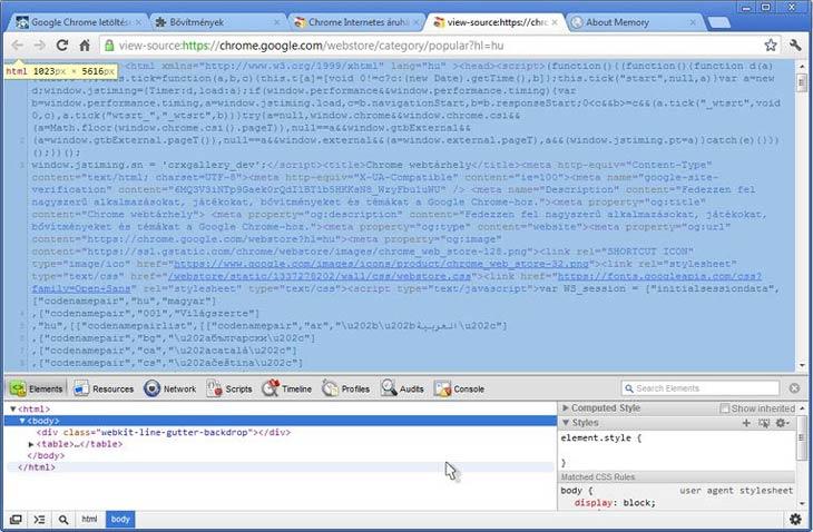Google Chrome fejlesztői eszközök