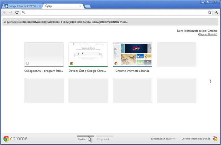 Google Chrome gyakran látogatott oldalak
