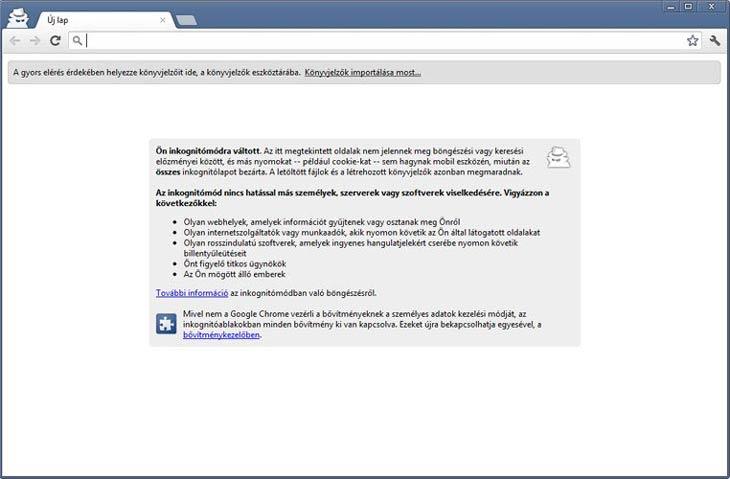 Google Chrome inkognitó mód