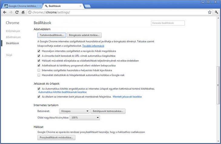 Google Chrome haladó beállítások